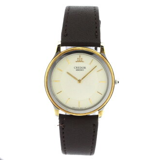 Authentic SEIKO 5A74-2000 CREDOR Watch 18K yellow gold Leather Quartz Men