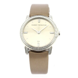 Authentic HARRY WINSTON Midnight Watch 18K White Gold Satin Quartz Women