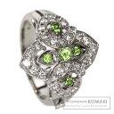 0.21ct ペリドット ダイヤモンド リング・指輪 プラチナPT90...
