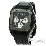 CARTIER W2020005 サントス100クロノ 腕時計 OH済 ステンレス/革/チタン メンズ 【中古】【カルティエ】