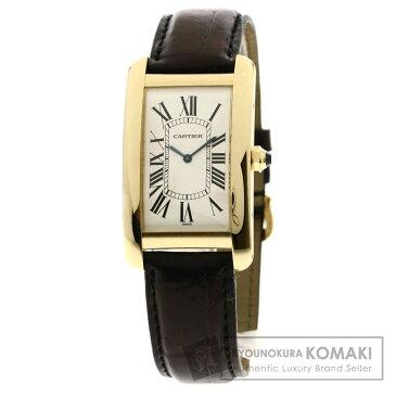 CARTIER W2601256 タンクアメリカンLM 腕時計 K18イエローゴールド/革 メンズ 【中古】【カルティエ】