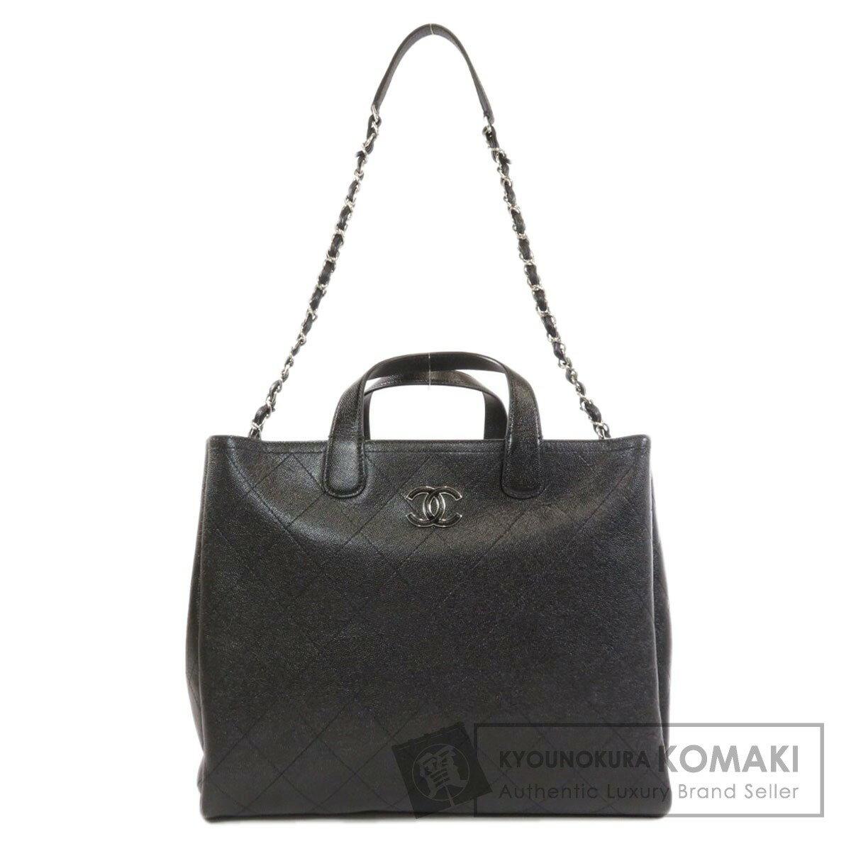 Chanel 2WAY Coco Mark Handbag Caviar Skin Ladies [Used] [CHANEL]