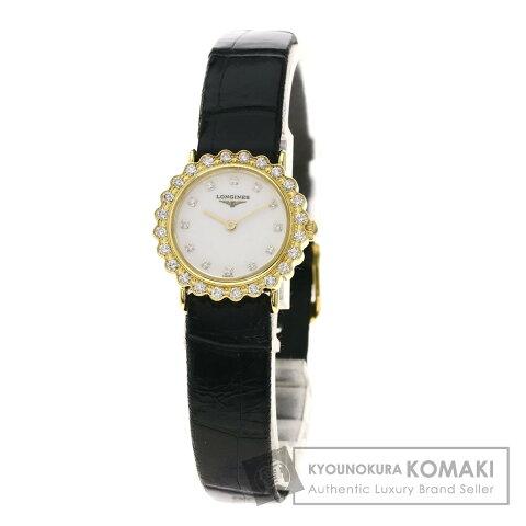 ロンジン L4.223.7 12Pダイヤモンド 腕時計 OH済 K18イエローゴールド/革 レディース 【中古】【LONGINES】
