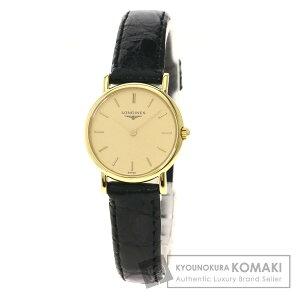 ساعة لونجين L7.489.6 مستديرة الوجه K18 للسيدات من الذهب الأصفر / التمساح [مستعملة] [LONGINES]