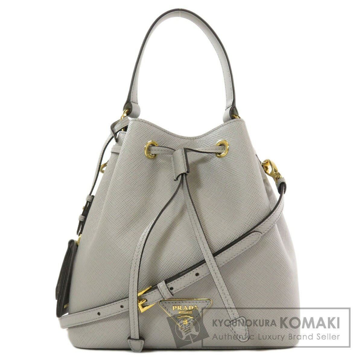 Prada 1BE032 Saffiano Cuir drawstring logo 2way handbag leather ladies [used] [PRADA]
