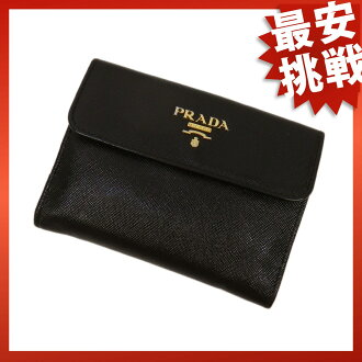 PRADA logo two bi-fold wallets (purses and) leather ladies