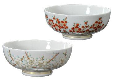 京焼・清水焼 おめでたい紅白梅の夫婦茶碗 色絵紅白梅夫婦飯茶碗 (桐箱入りセット)【受注生産品】