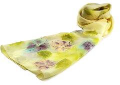 濡れ描きの花がロマンティックな手染めシルクストール(受注生産品)