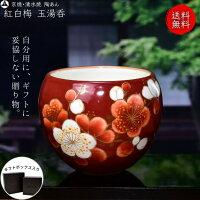 京焼 清水焼 陶あん 色絵付け 玉湯呑(赤地×梅)
