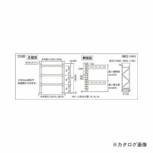 運賃見積り 直送品 TRUSCO パレット棚2トン 25001000XH4000 3段 連結 2D-40L25-10-3B:KanamonoYaSan  KYS