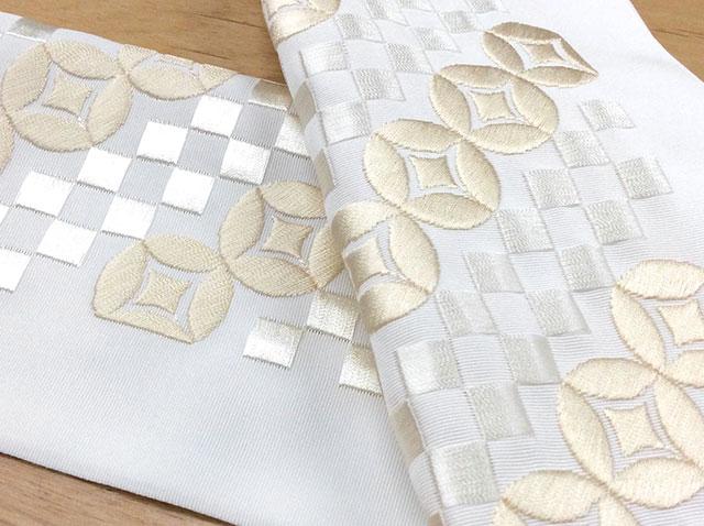 シルエリー刺繍半衿 日本製 白 七宝 180920-4