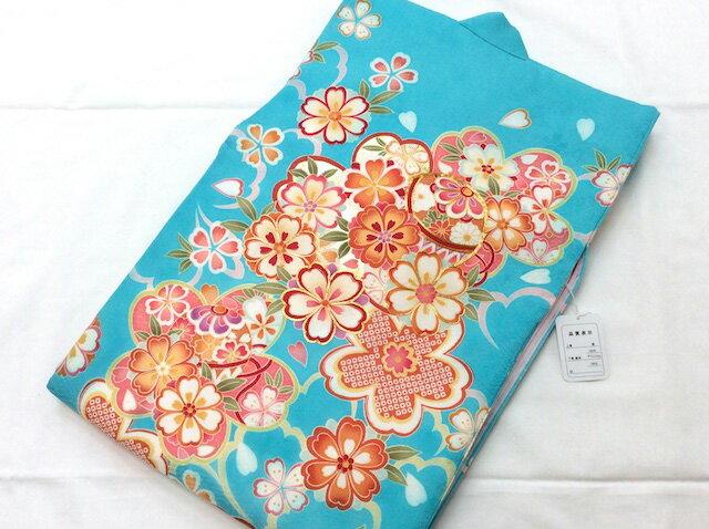 女の子正絹初着 一つ身 水色地に桜 青:着物と寝具専門店【久五郎】