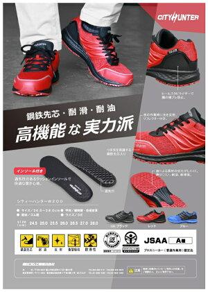 福山ゴムシティハンター#200ブルー24.5-28cmセーフティ安全靴(ワイド設計3E)通気耐滑