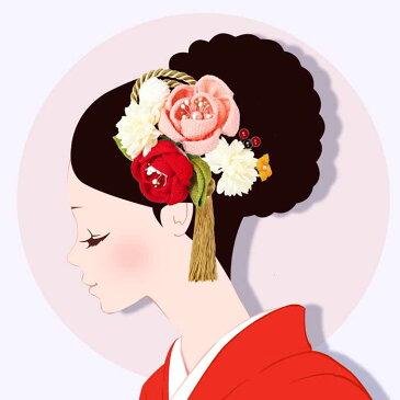 髪飾り 成人式 2点セット 振袖 赤系 ピンク ホワイト 和花 小花 ふさ飾り 卒業式 袴 髪留め フラワー 着物 浴衣 披露宴 結婚式 謝恩会