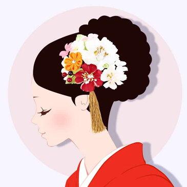 髪飾り 成人式 2点セット 振袖 赤 白 オレンジ 和花 小花 ふさ飾り 卒業式 袴 髪留め フラワー 着物 浴衣 披露宴 結婚式 謝恩会