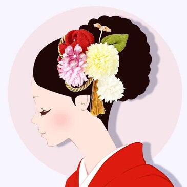 髪飾り 成人式 2点セット 振袖 白 赤 ピンク 和花 小花 つまみ細工 ふさ飾り 卒業式 袴 髪留め フラワー 着物 浴衣 披露宴 結婚式 謝恩会