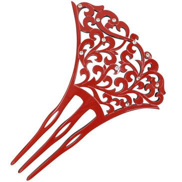 バチ型簪 赤 唐草 透かし 大きい ラインストーン かんざし 振袖 訪問着 髪飾り 3本足 日本製 フォーマル ヘアアクセサリー 色留袖 訪問着 小紋 着物