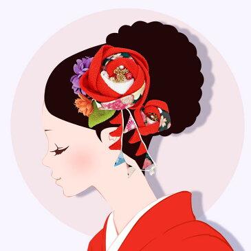 髪飾り 2点セット アウトレットセール 成人式 振袖 赤色 つまみ細工 和花 小花 下がり飾り 卒業式 袴 髪留め フラワー 着物 浴衣 披露宴 結婚式 謝恩会