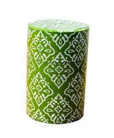 【送料無料】かわいいおしゃれ北欧風茶筒総柄(小)グリーン・緑