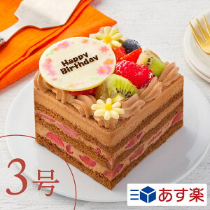 """3号チョコレートケーキ""""フルーツいっぱいチョコケーキ""""7種類の果物をふんだんに使用したケーキ【1〜2人向け】 3号ケーキ キャラクターケーキ スイーツ 推し 1人用 2人用 メッセージ ホールケーキ あす楽 ギフト ケーキ 誕生日 バースデー"""
