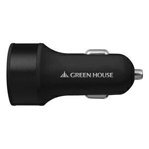 グリーンハウスUSBシガーソケット充電アダプタ 2ポート 4.2A GH-CCU2A-BK★