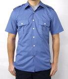 イタリア、ポリス、半袖ブルーシャツ(新品)ミリタリー