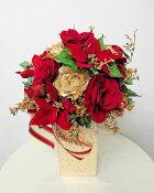 アーティフィシャルフラワー「造花」【ポインセチアと薔薇のゴールド花器】光触媒コーティング。