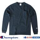 【2019FW新作】チャンピオン Champion T1011(ティーテンイレブン) ポケット付きロングスリーブTシャツ ロンT (C5-P401) ネイビー Navy【送料無料】