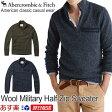 【お買得!バーゲン中!】アバクロンビー&フィッチ 正規 アバクロ Abercrombie&Fitch メンズ モックネックセーター ハイネック ニット ハーフジップ:Wool Military Half-Zip Sweater【2色】Navy│Olive│ネイビー│オリーブ