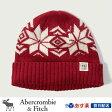 アバクロンビー&フィッチ 正規品 アバクロ Abercrombie&Fitch メンズ キャップ ニット帽 ニットキャップ ビーニー:Foldover Beanie - Red