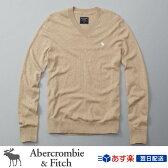 アバクロンビー&フィッチ 正規品 アバクロ Abercrombie&Fitch メンズ Vネックセーター ニット:Icon Wool-Blend V-Neck Sweater - Camel│キャメル│ベージュ