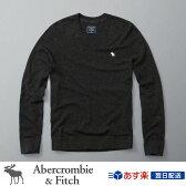 アバクロンビー&フィッチ 正規品 アバクロ Abercrombie&Fitch メンズ Vネックセーター ニット:Icon Wool-Blend V-Neck Sweater - Charcoal│Dark Grey│ダークグレー│チャコール
