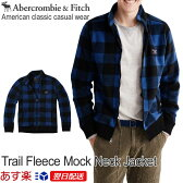 【新作!】アバクロンビー&フィッチ 正規品 アバクロ Abercrombie&Fitch メンズ フリース ジャケット チェック柄:Trail Fleece Full-Zip Mock Neck Jacket - Med Blue Print│ブルー