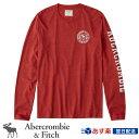 【2019FW新作!】アバクロンビー&フィッチ 正規品 アバクロ Abercrombie&Fitch メンズ ロンT Tシャツ Long Sleeve Logo Tee レッド Red【US限定モデル】
