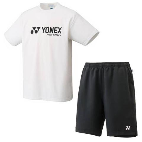 【送料無料】YONEX(ヨネックス)ユニセックスユニベリークールTシャツ・ハーフパンツ上下セットホワイト×ブラック16201-011-1550-007【16★】●●