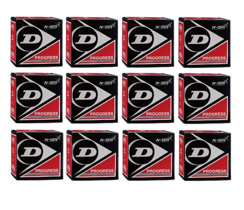 DUNLOP(ダンロップ)PROGRESSスカッシュボール1箱1球入り×12箱セットブラック×レッ...