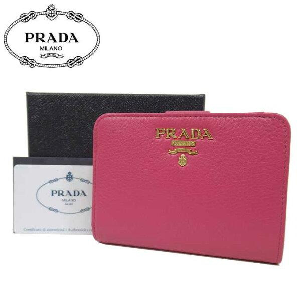 プラダアウトレットPRADA財布1ML018レザーロゴL字ファスナー両開き財布VITELLOGRAIN/PEONIA レディース