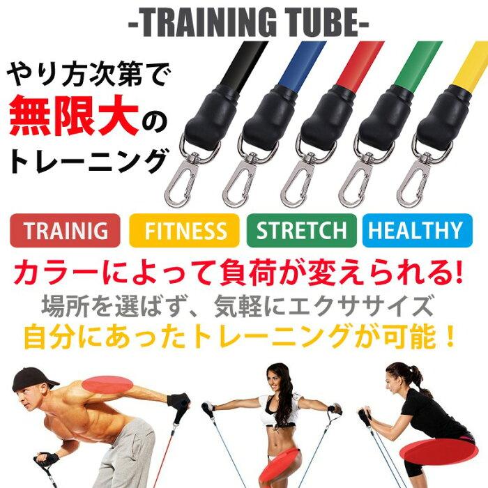 トレーニングチューブ 弾性ラテックスチューブ エクササイズ 強度別 5本セット インナーマッスル フィットネス 筋トレ ゆうメール送料無料