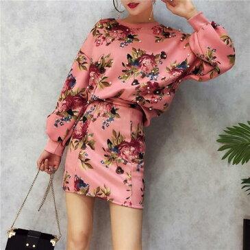 レディース花柄2点セットアップトップスミニスカートスウェットトレーナーかわいい人気おしゃれピンク系