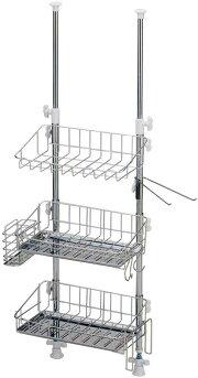 突っ張りマルチラックスリム3段(A-75814)ステンレス適応サイズ:高さ69〜110cm収納水回りキッチン食器水切りカゴ