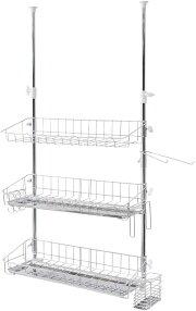 【送料無料】突っ張りマルチラックワイド3(A-76027)ステンレス適応サイズ:高さ69〜110cm収納水回りキッチン食器水切りカゴ