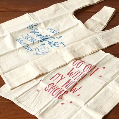 【ナチュラルな生地に手書きのロゴ】マルシェトートバッグ(カラー:レッドブルーグリーンブラック)【楽ギフ_包装】