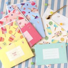 アイスポップレターセット便箋6枚封筒3枚(カラー:ピンクブルーホワイトイエロー)【楽ギフ_包装】