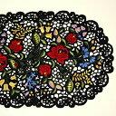 テーブルセンター 約30x45cm(楕円形) カロチャ刺繍調 リシェリュー風カットワーク ハンガリーの民芸刺繍を現代の技術で再現 【ゆうパケット選択可】