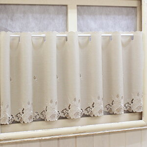 Cafe curtain about 120x45cm Rose embroidery & cutwork Water repellent [Selectable Yupack]