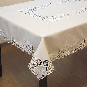 टेबल क्लॉथ लगभग। 130x230cm गुलाब कढ़ाई और कटवर्क पानी से बचाने वाली क्रीम [कूरियर द्वारा मुफ्त शिपिंग]