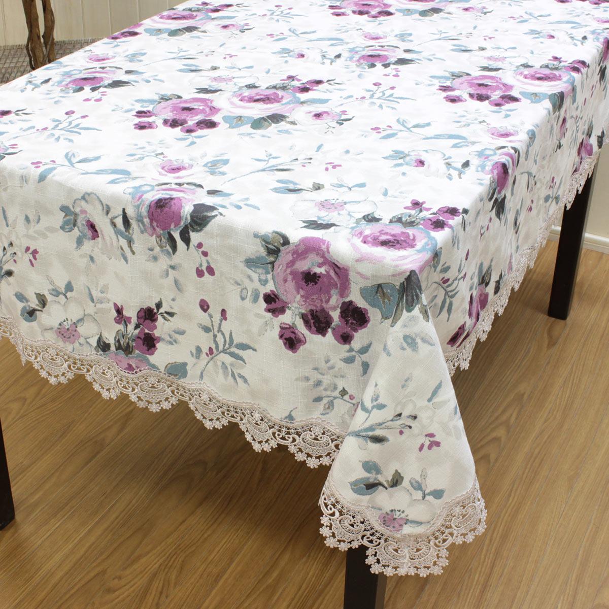 [送料無料] テーブルクロス 約130x200cm 長方形 4人掛け 撥水加工 はっ水 水を弾く 汚れにくい ジャカード織 花柄 ローズ柄 薔薇 バラ パープル エレガント おしゃれ インテリア