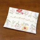 ミニティッシュケース 約12x9cm 【ゆうパケット選択可】 フラワー刺繍&カットワーク 素朴でクラシカルな印象の花柄コード刺繍