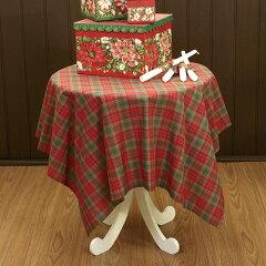 ★ami-bruggeのクリスマス★☆クリスマスカラータータンチェックジャカード織テーブルクロス(ト...
