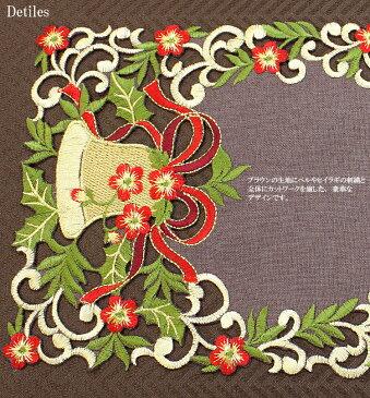 カットワーク&刺繍 クリスマスドイリー(花瓶敷き)ベル 約30cmR 【ゆうパケット選択可】